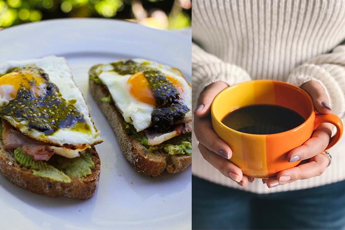 早餐減脂菜單-全麥吐司夾義大利切片火腿+無糖黑咖啡