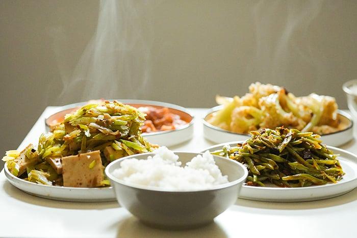 燙青菜 地瓜葉 高麗菜 青椒