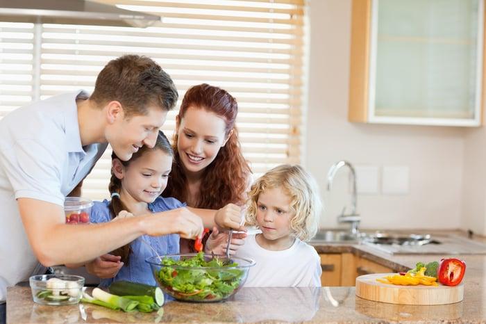 長高方法 飲食均衡 跟家人一起準備食材 小孩 綠色蔬菜 沙拉