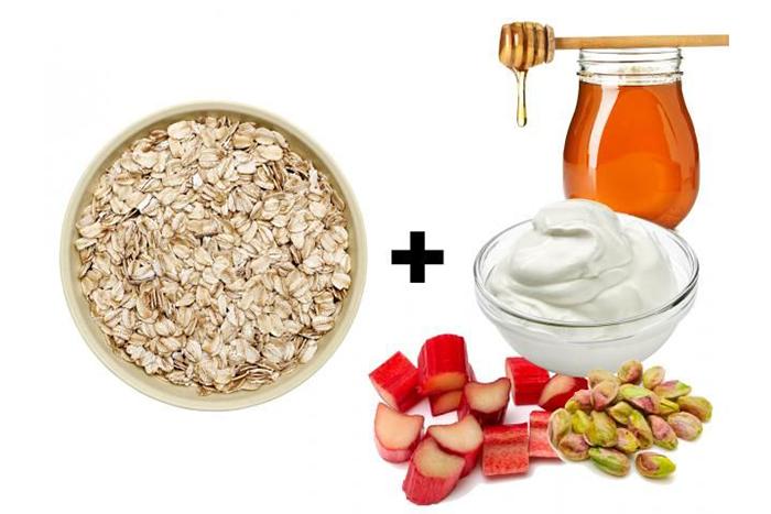 燕麥食譜推薦-大黃開心果玫瑰燕麥片