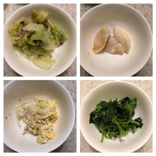 晚餐-家人煮菜(炒青菜、煎魚、煎蛋)