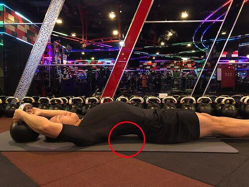 腹肌運動錯誤姿勢,下背部過度前傾壓迫