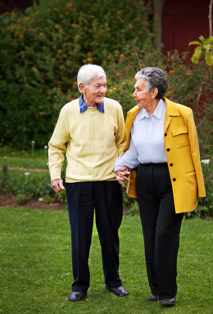 Elder couple walking together at the park