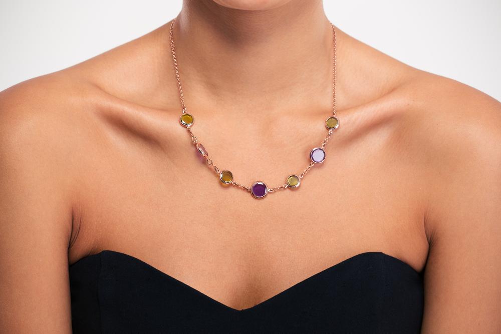 Jewelry concept. Closeup portrait of a necklace on female neck