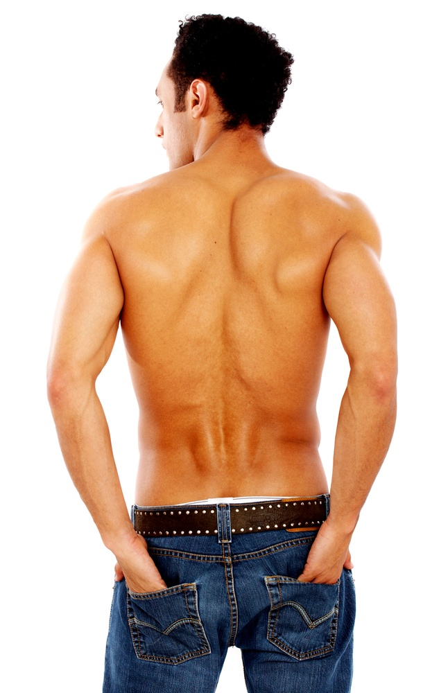 male body from the back isolated over a white background